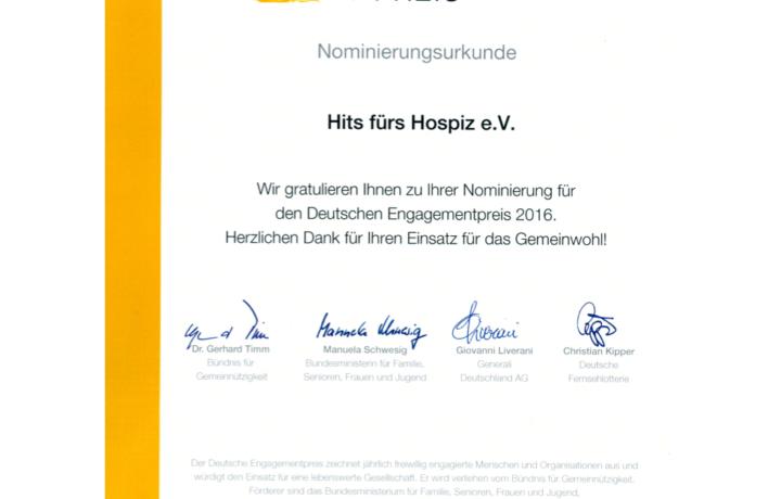 Nominierung Deutscher Engagement Preis